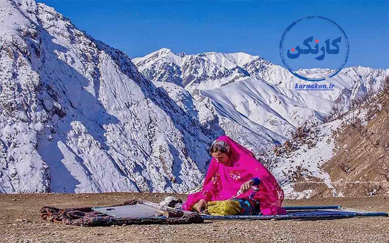 مشاغل زنان روستایی و عشایری ایران - بافت فرش و گلیم معروف عشایری - عکاس: جواد قارایی