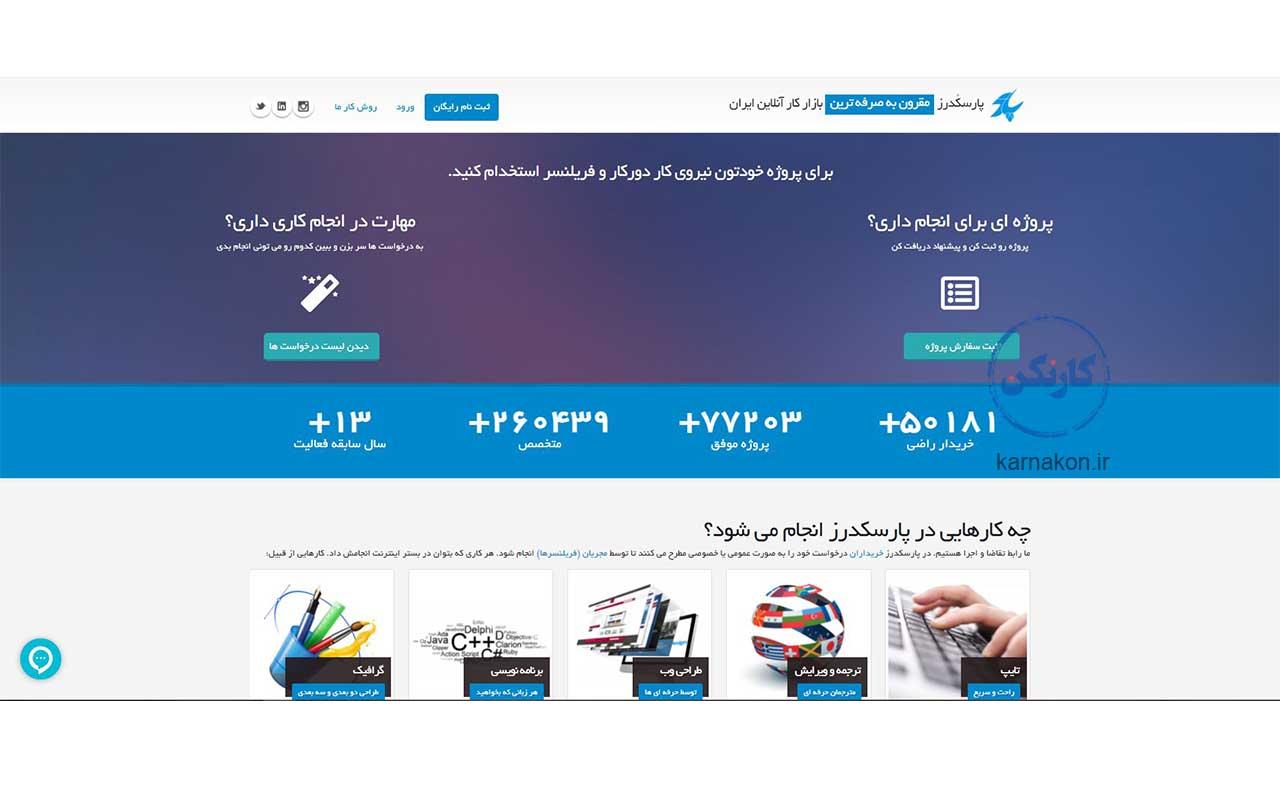 پارسکدرز، اولین بازار کار آنلاین ایران یکی انواع سایت فریلنسر به انجام پروژههای ممکن برای درآمدزایی کمک میکند