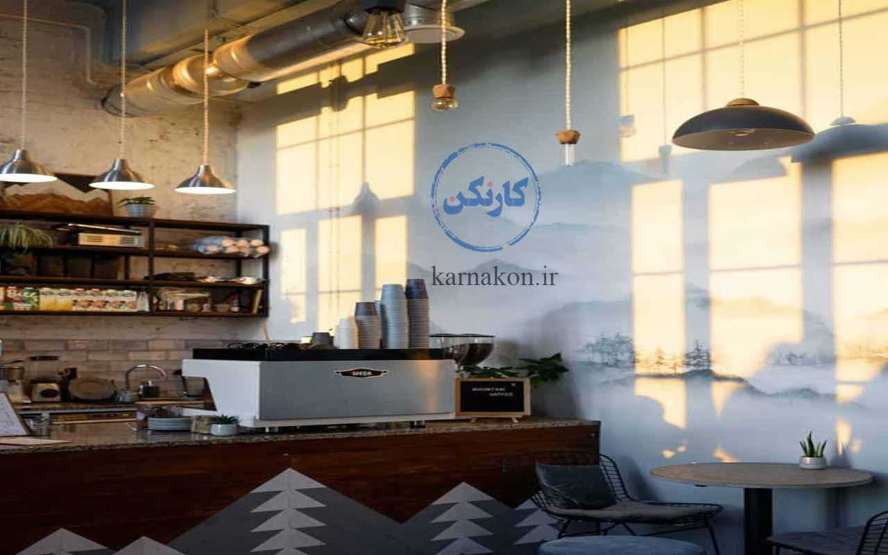 نورپردازی مناسب، یک ایده برای قهوه فروشی بهشمار میرود موجب میشود مغازۀ شما دلگیر بهنظر نرسد.