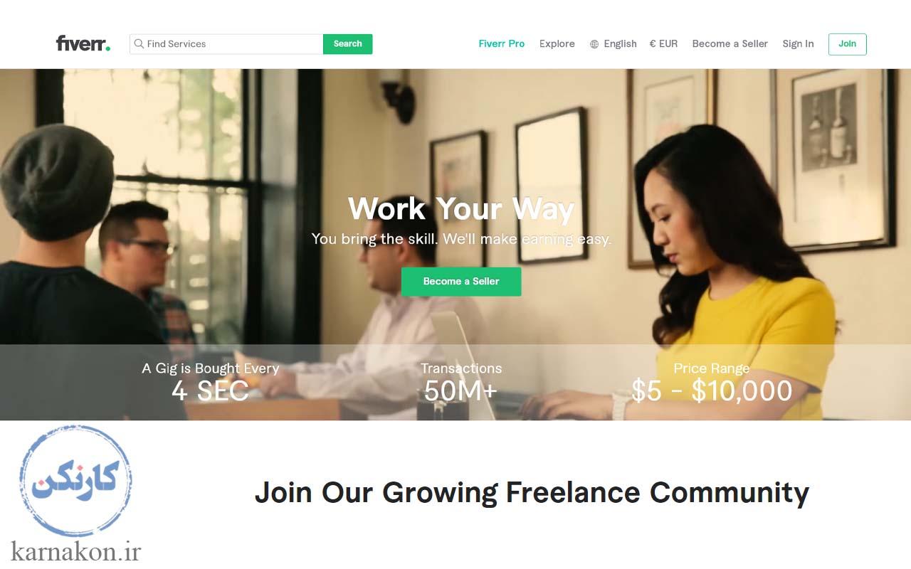 هزینه ثبت نام و کار در سایت fiverr رایگان است و شما میتوانید همین الان با ثبت نام در سایت، کسب درآمد کنید.